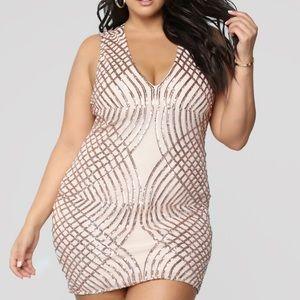 Adellie Sequin Dress - Rosegold